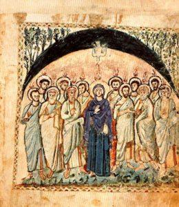 Abbildung aus einer syrischen Pergament-Handschrift der vier Evangelien aus dem Jahre 586: Der Heilige Geist in Gestalt einer Taube erleuchtet die Jünger und Apostel, sichtbar durch die Feuerzungen über den Köpfen - der Geburtstag der christlichen Kirche!